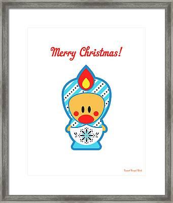 Cute Art - Merry Christmas Folk Art Sweet Angel Bird In A Nesting Doll Costume Wall Art Print Framed Print