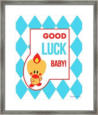 Cute Art - Sweet Angel Bird Blue Good Luck Baby Circus Diamond Pattern Wall Art Print Framed Print
