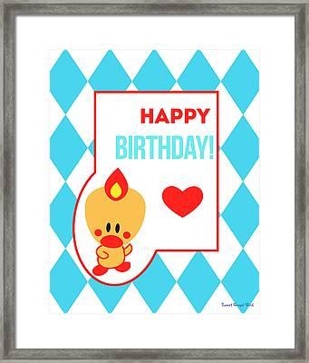 Cute Art - Sweet Angel Bird Blue Happy Birthday Circus Diamond Pattern Wall Art Print Framed Print