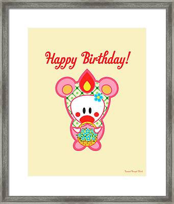 Cute Art - Sweet Angel Bird In A Bear Costume Holding A Basket Of Flowers Happy Birthday Wall Art Print Framed Print