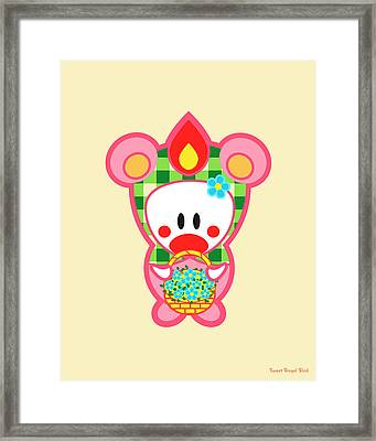 Cute Art - Sweet Angel Bird In A Bear Costume Holding A Basket Of Flowers Wall Art Print Framed Print