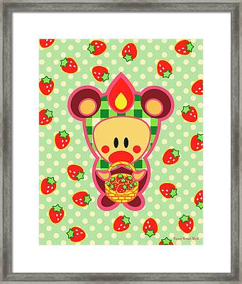 Cute Art - Sweet Angel Bird In A Bear Costume Holding A Basket Of Strawberries Wall Art Print Framed Print