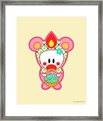 Cute Art - Sweet Angel Bird In A Pink And Green Bear Costume Holding A Basket Of Flowers Wall Art Print Framed Print