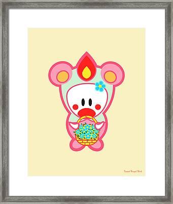Cute Art - Sweet Angel Bird In A Pink And Mint Bear Costume Holding A Basket Of Flowers Wall Art Print Framed Print