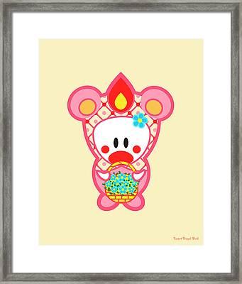 Cute Art - Sweet Angel Bird In A Pink Bear Costume Holding A Basket Of Blue Flowers Wall Art Print Framed Print