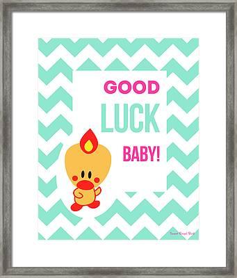 Cute Art - Sweet Angel Bird Light Teal Good Luck Baby Chevron Wall Art Print Framed Print