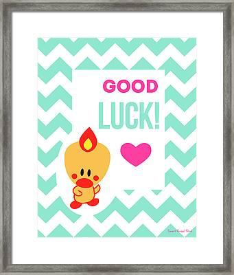 Cute Art - Sweet Angel Bird Light Teal Good Luck Chevron Wall Art Print Framed Print