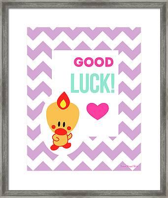 Cute Art - Sweet Angel Bird Lilac Good Luck Chevron Wall Art Print Framed Print