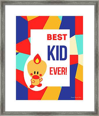 Cute Art - Sweet Angel Bird Multicolor Colorblock Best Kid Ever Wall Art Print Framed Print