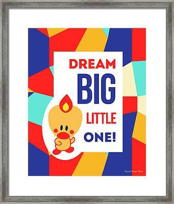 Cute Art - Sweet Angel Bird Multicolor Colorblock Dream Big Little One Wall Art Print Framed Print