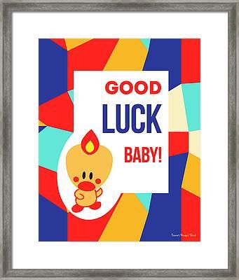Cute Art - Sweet Angel Bird Multicolor Colorblock Good Luck Baby Wall Art Print Framed Print