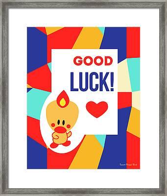 Cute Art - Sweet Angel Bird Multicolor Colorblock Good Luck Wall Art Print Framed Print