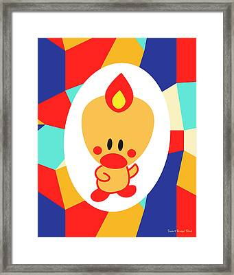 Cute Art - Sweet Angel Bird Multicolor Colorblock Wall Art Print Framed Print