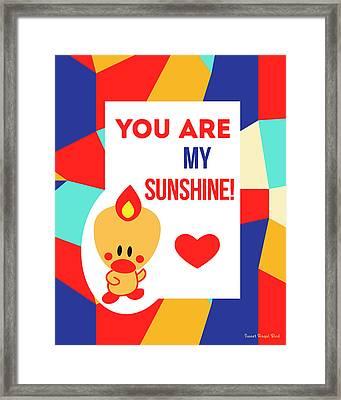 Cute Art - Sweet Angel Bird Multicolor Colorblock You Are My Sunshine Wall Art Print Framed Print