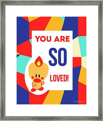 Cute Art - Sweet Angel Bird Multicolor Colorblock You Are So Loved Wall Art Print Framed Print