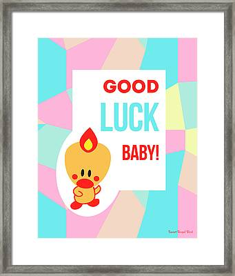 Cute Art - Sweet Angel Bird Pastel Colorblock Good Luck Baby Wall Art Print Framed Print