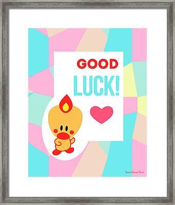 Cute Art - Sweet Angel Bird Pastel Colorblock Good Luck Wall Art Print Framed Print