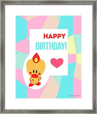 Cute Art - Sweet Angel Bird Pastel Colorblock Happy Birthday Wall Art Print Framed Print