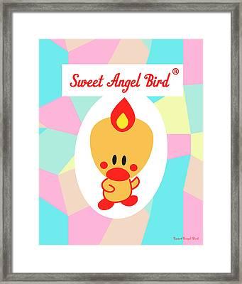 Cute Art - Sweet Angel Bird Pastel Colorblock Logo Wall Art Print Framed Print