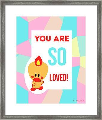 Cute Art - Sweet Angel Bird Pastel Colorblock You Are So Loved Wall Art Print Framed Print