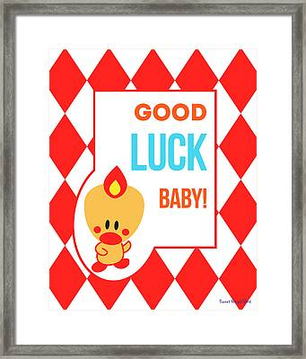 Cute Art - Sweet Angel Bird Red Good Luck Baby Circus Diamond Pattern Wall Art Print Framed Print