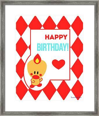 Cute Art - Sweet Angel Bird Red Happy Birthday Circus Diamond Pattern Wall Art Print Framed Print