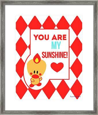 Cute Art - Sweet Angel Bird Red You Are My Sunshine Circus Diamond Pattern Wall Art Print Framed Print