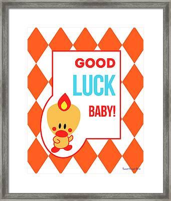 Cute Art - Sweet Angel Bird Terra Cotta Good Luck Baby Circus Diamond Pattern Wall Art Print Framed Print