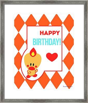 Cute Art - Sweet Angel Bird Terra Cotta Happy Birthday Circus Diamond Pattern Wall Art Print Framed Print