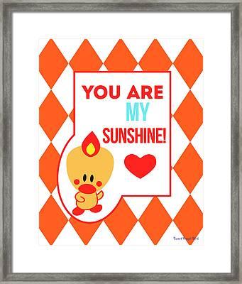 Cute Art - Sweet Angel Bird Terra Cotta You Are My Sunshine Circus Diamond Pattern Wall Art Print Framed Print
