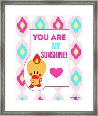 Cute Art - Sweet Angel Bird You Are My Sunshine Ikat Wall Art Print Framed Print