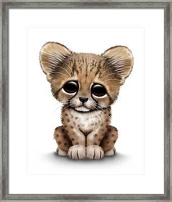 Cute Baby Cheetah Cub Framed Print by Jeff Bartels