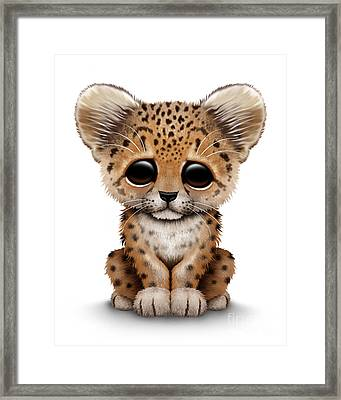 Cute Baby Leopard Cub Framed Print