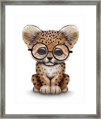 Cute Baby Leopard Cub Wearing Glasses Framed Print by Jeff Bartels
