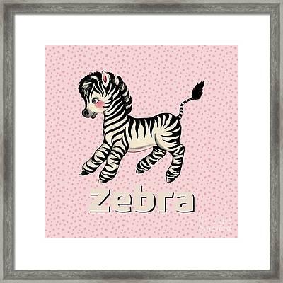 Cute Baby Zebra Pattern Vintage Book Illustration Pattern Framed Print
