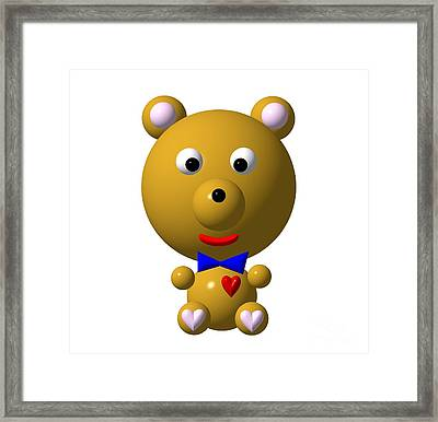 Cute Bear With Bow Tie Framed Print by Rose Santuci-Sofranko