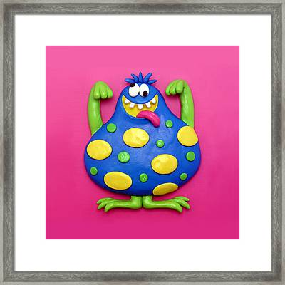 Cute Blue Monster Framed Print