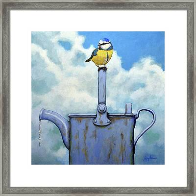 Cute Blue-tit Realistic Bird Portrait On Antique Watering Can Framed Print