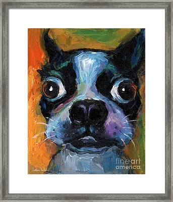 Cute Boston Terrier Puppy Art Framed Print