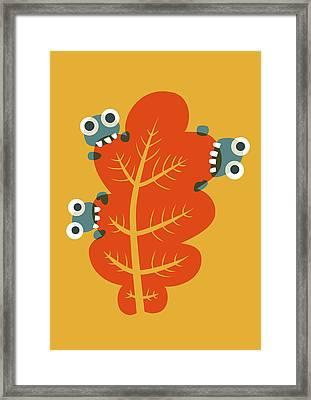 Cute Bugs Eat Autumn Leaf Framed Print by Boriana Giormova