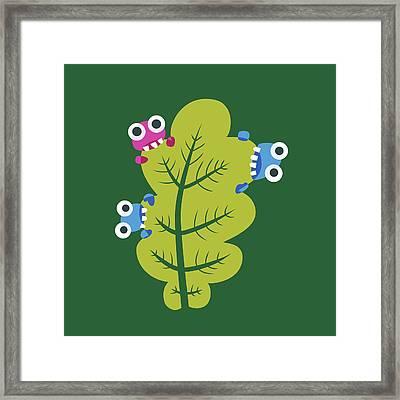 Cute Bugs Eat Green Leaf Framed Print by Boriana Giormova