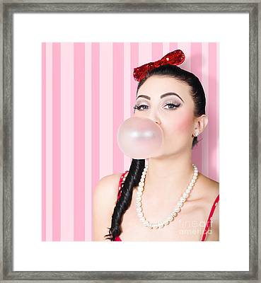 Cute Candy Store Girl Blowing Chewing Gum Bubble Framed Print by Jorgo Photography - Wall Art Gallery