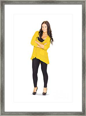 Cute Casual Brunette Hair Woman Isolated On White  Framed Print by Jorgo Photography - Wall Art Gallery