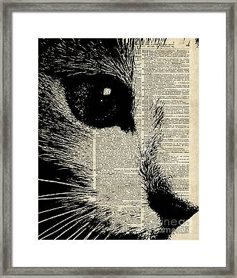 Cute Cat Illustration Over Old Dictionary Page Framed Print