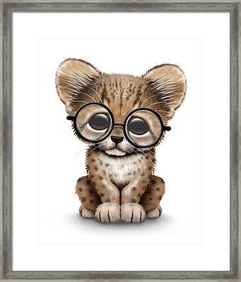 Cute Cheetah Cub Wearing Glasses Framed Print by Jeff Bartels