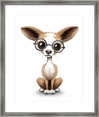 Cute Chihuahua Puppy Wearing Eye Glasses Framed Print