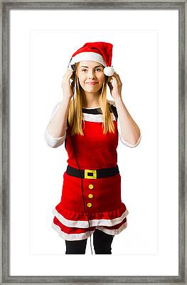 Cute Christmas Girl Listening To Holiday Music  Framed Print
