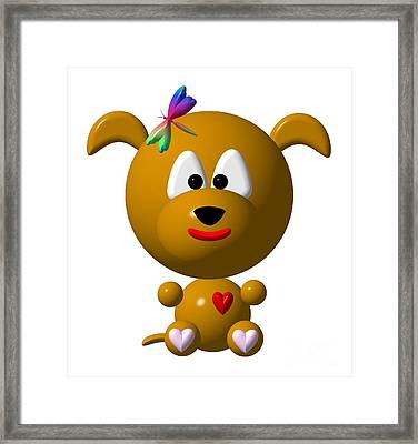 Cute Dog With Dragonfly Framed Print by Rose Santuci-Sofranko