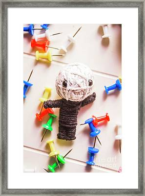 Cute Doll Made From Yarn Surrounded By Pins Framed Print