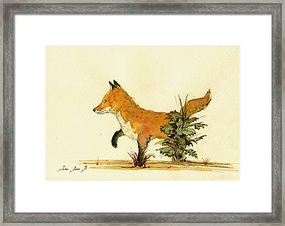Cute Fox In The Forest Framed Print